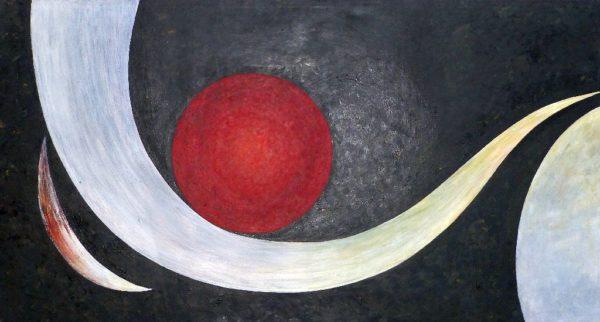 großes Gemälde schwarz weiß rot Angelika Sobek-Kistner