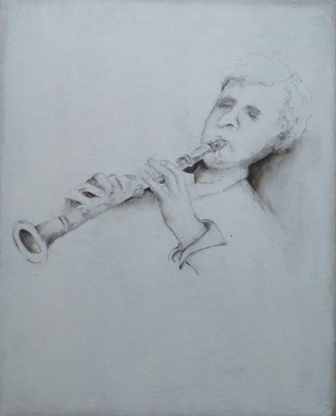 Acryl Zeichnung Klarinettist Angelika Sobek-Kistner