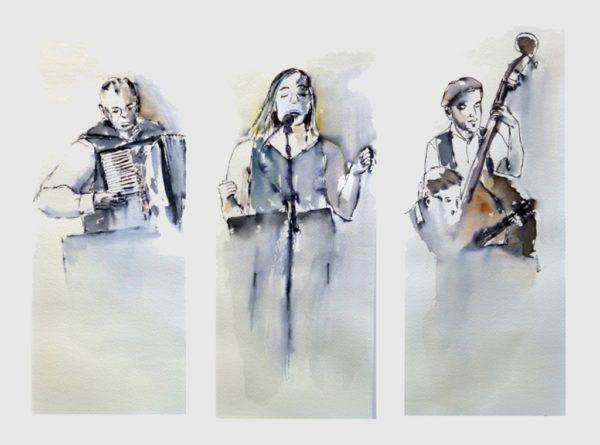 Aquarell Musikergruppe Angelika Sobek-Kistner