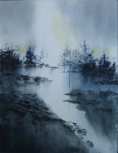 Aquarell Tannen Fluss Licht Angelika Sobek-Kistner