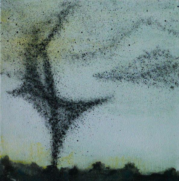Angelika Sobek-Kistner, Vogelschwarm, Gemälde